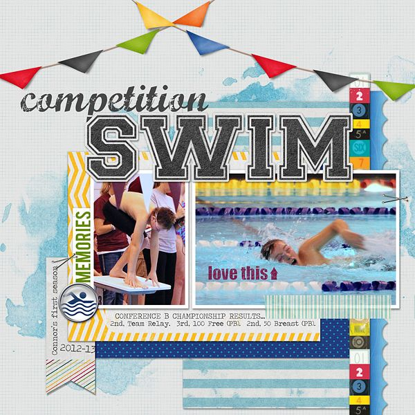 swim competition layouts for scrapbookin  | The Instinctive Scrapper