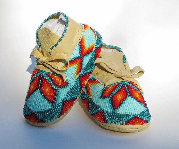 Native American Fully Beaded Baby Moccasins by AuthenticNativeMade                                                                                                                                                      More