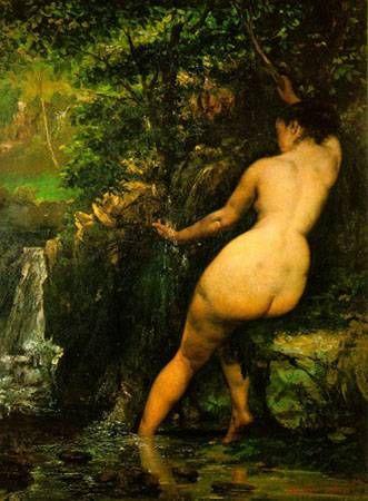 샘, 1868  쿠르베  캔버스에 유채, 128 x 97 cm,     쿠르베의 도전은 노년에도 멈추지 않는다.  당시의 관습적인 누드화에 대한 화풍에 대한 반항이다.  신적으로 풍만하고 아름답게만 묘사되던 여인을 깊이를 간직한 넓은 둔부를 사실적으로 표현하면서 절제된 욕망을 효과적으로 표현하였다.  고전주의 작품과는 분명 차이가 있는 아름다움이다.
