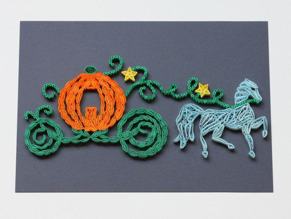 Quilled Cinderella Pumpkin Carriage Wall Art by JeAdoreQuilling