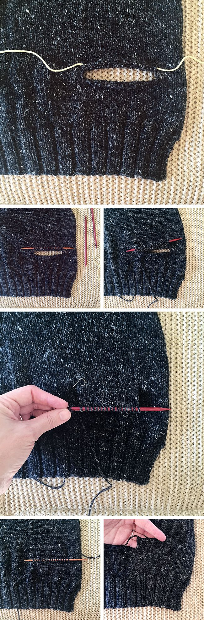 How to knit inset pockets (top-down)