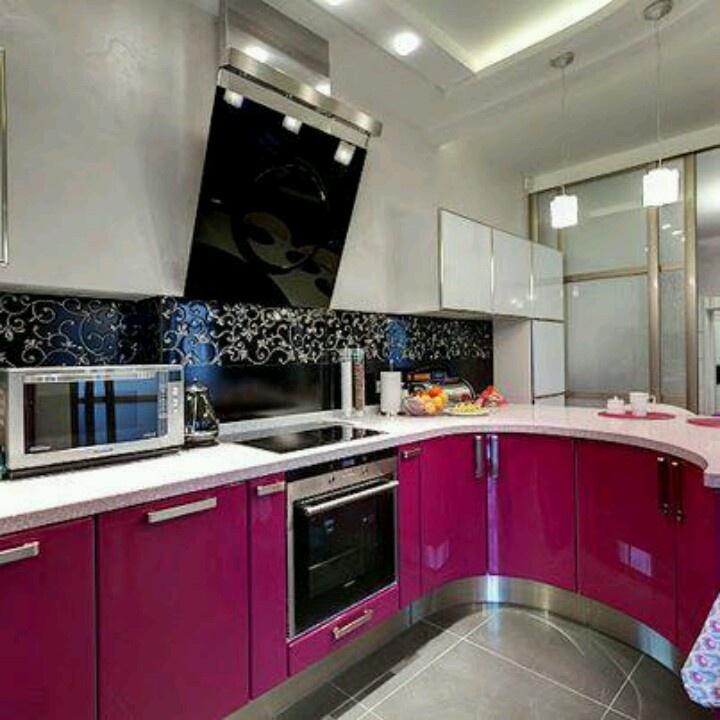 a pink kitchen decor pinterest - Magenta Kitchen Design
