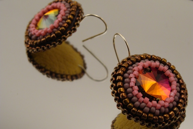 Aamira Bronze earrings - Swarovski sew-on and seed beads