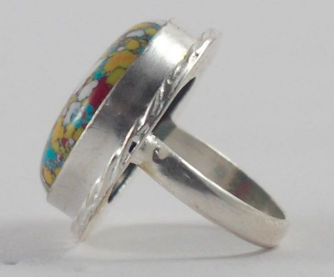 Handmade Silver Plated Ring with Synthetic Calsilica Stone