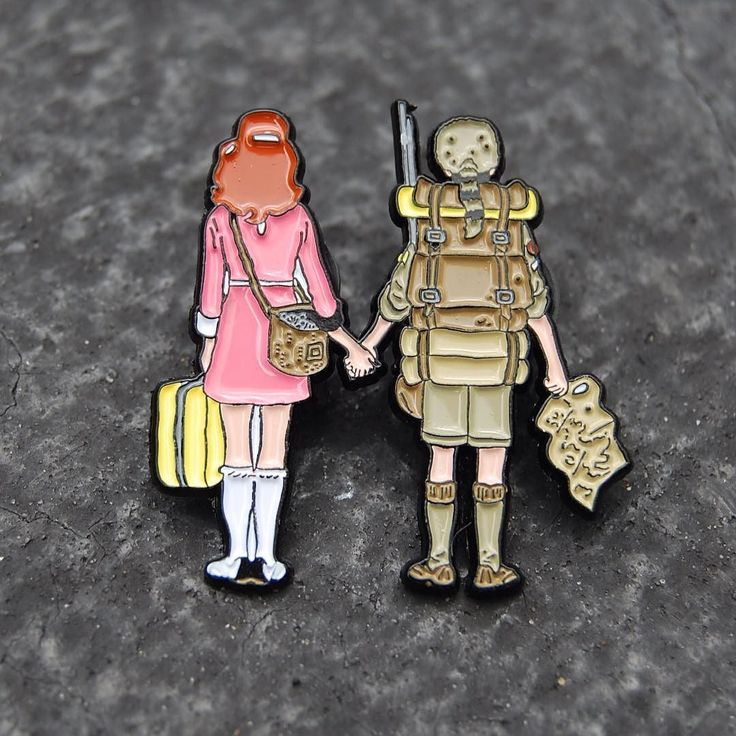 #Repost @pin_house Detail shot of our Wes Anderson inspired Moonrise Kingdom pin   I'm so happy with the way these came out! She even has her kitty tucked away in her bag