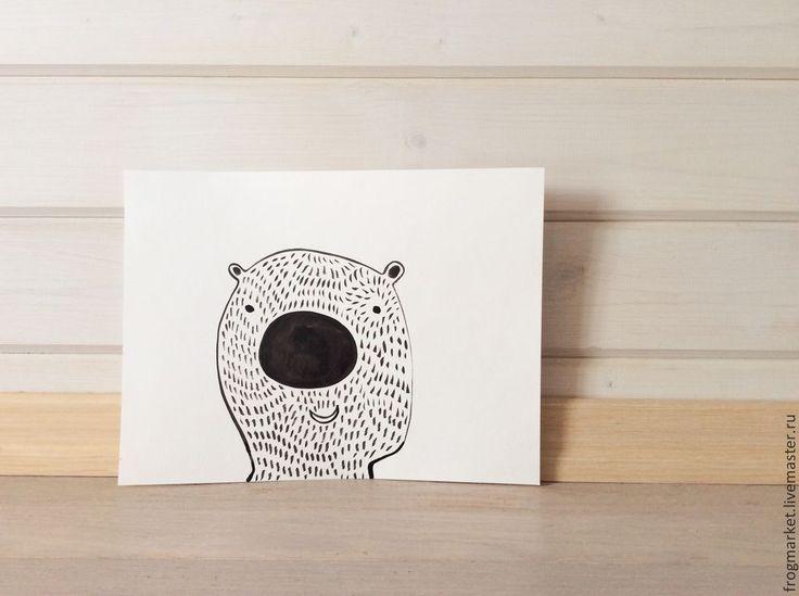 Купить Медвежонок - черно-белый, контур, графика, акварель, медведь, медвежонок, иллюстрация, акварельная бумага