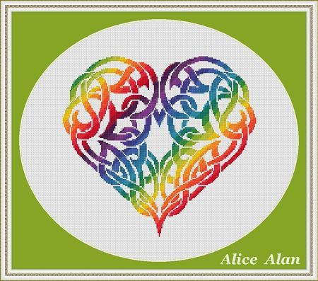 Cross Stitch Pattern Silhouette Heart Celtic ornament (druids) rainbow designed by me, so you have a unique opportunity to get an exclusive product. Colors – 21 Fabric: 14 count White Aida Stitches: 161 x 150 Size: 11.50 x 10.71 inches or 29.21 x 27.21 cm Colours: DMC Fabric: 16 count White Aida Stitches: 161 x 150 Size: 10.06 x 9.38 inches or 25.56 x 23.81 cm Fabric: 18 count White Aida Stitches: 161 x 150 Size: 8.94 x 8.33 inches or 22.72 x 21.17 cm Colours: DMC PDF Pattern includes: 1...