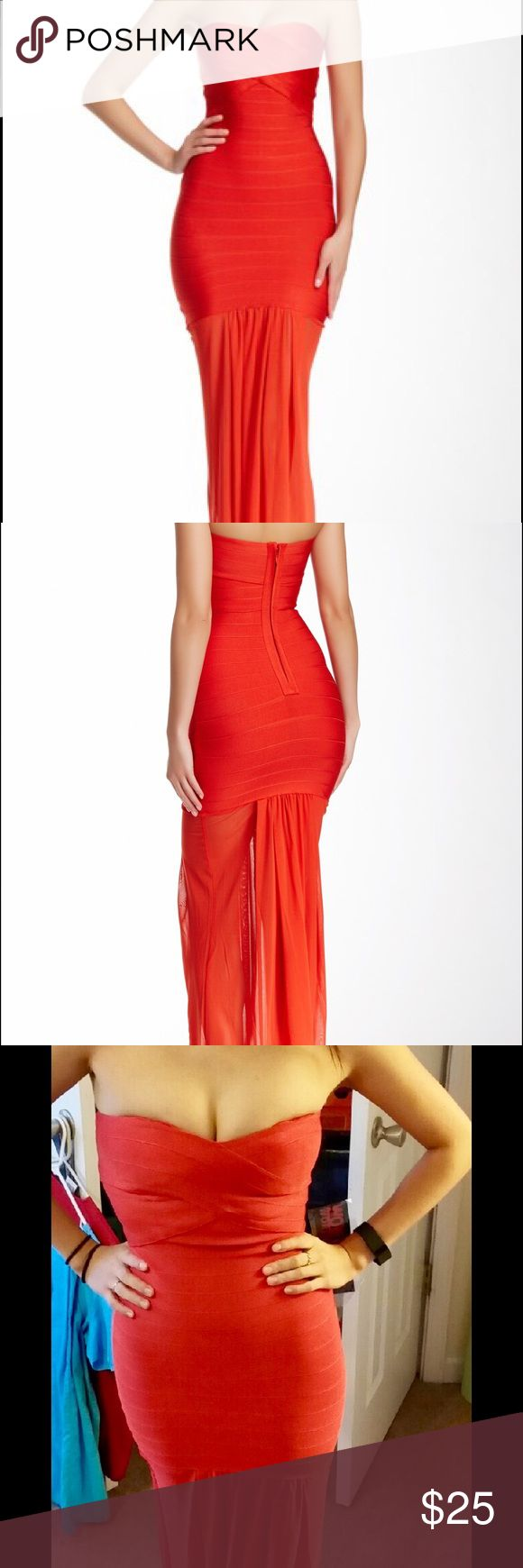 Wow couture red bandage dress with lower mesh Brand new red wow couture bandage dress! It is form fitting until it goes past your butt then it's mesh to the floor. Love the dress but it is a size or two too small for me (see pic). Would fit a size zero perfectly. WOW couture Dresses Strapless