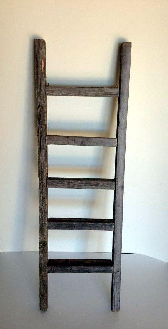 Decorative Ladder Reclaimed Old Wooden Ladder 4 Foot Rustic Barn Wood Rustic Ladder Rustic Nursery Rustic Baby