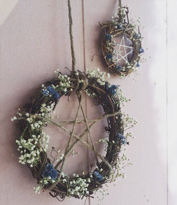 Penatgram Protective Home Wreaths Altar by TheMoonGoddessMarket samhain , halloween autumn equinox decorations for the fairy or pagan home