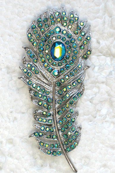 Pávatoll bross ,  Peacock feather brooch