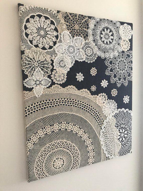 "Doily Art Wall Hanging – ""Snowy Night"" – Vintage Doilies on Burlap – Unique Artwork"