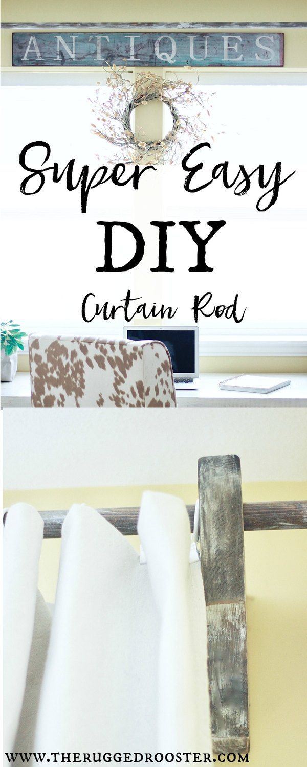 Super Easy DIY Curtain Rod Made of out wood & made to look rustic and distressed. DIY Corbels for farmhouse room www.theruggedrooster.com Maison De Pax DIY Curtain Rods