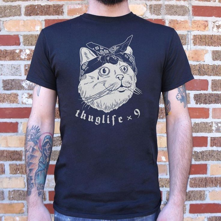 Thug Life Cat Times Nine T-Shirt- Mens