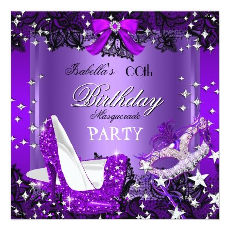 Masquerade Purple Glitter High Heels Party Card #mardigras