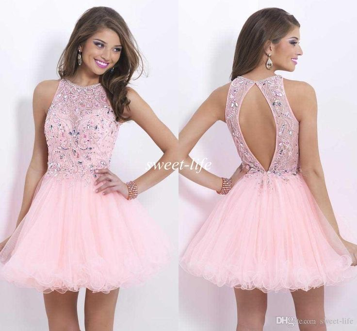 2015 Fashion New Design Pink Sheer Tulle Beads Sequin Backless Short Party Queen Junior Homecoming Short Prom Dresses Custom Made Crew Cheap Online with $80.11/Piece on Sweet-life's Store | DHgate.com