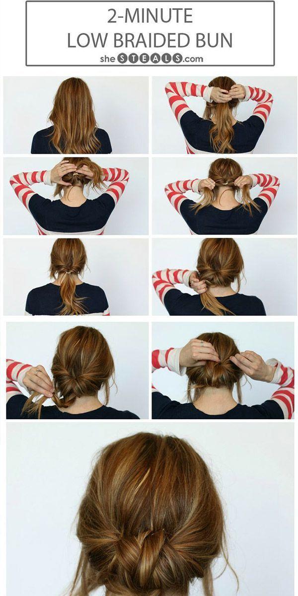 Low-hanging braided bun.