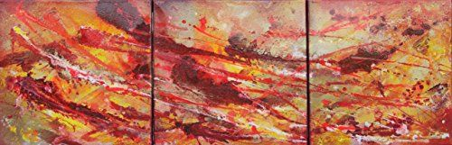 A textured abstract #painting onto 3 slimline canvases. Innovative use of mixed media, white acrylic, and red spray paints have been used to create #stunning visu...