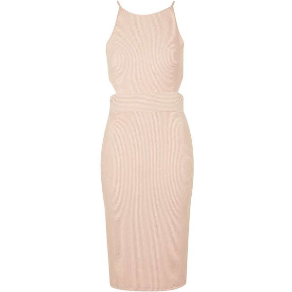 TOPSHOP Sporty Ribbed Midi Dress (4,255 INR) ❤ liked on Polyvore featuring dresses, nude, night out dresses, high waist dress, pink midi dress, topshop dresses and sporty dresses