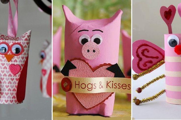 10 Adorables bricolages de Saint-Valentin pour enfants, à faire avec des rouleaux de papier!