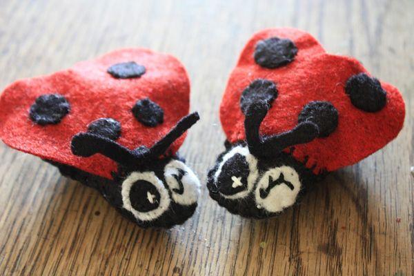 Ladybug tutorial: Orange Potatoes, For Kids, Ladybugs Tutorials, 5Orangepotatoes Com, Ladybugs Crafts, 5Orangepotato Com, Felt Ladybugs, Handmade Ornaments, Lady Bugs