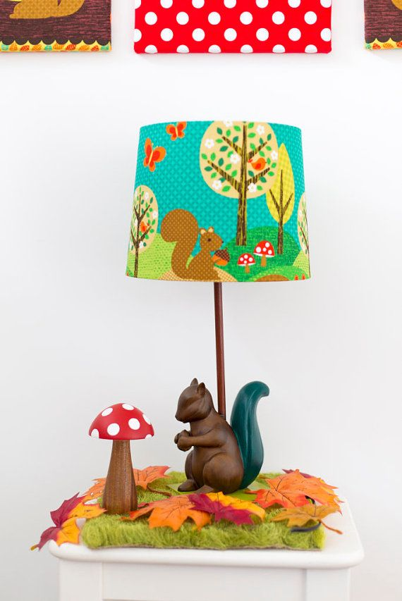 Woodland lamp and shade with squirrel and toadstools from Babes in the Woods. Available to buy on etsy.com