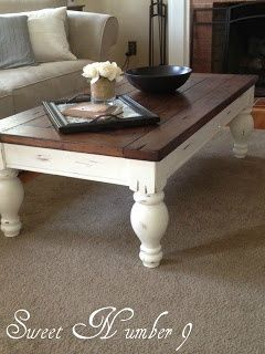 Dark walnut stain for mantle...nice tutorial in farmhouse coffee table