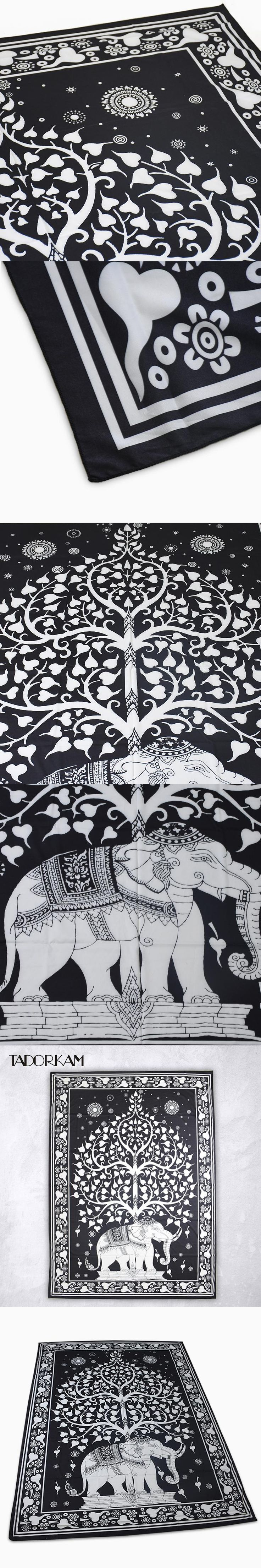 White Black Elephant Mandala Tapestry Indian Bohemian Tapestry Wall Hanging Mandala Bedspread Beach Shawl Yoga Mats Party Decor