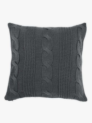 AURA Cable Knit Cushion in Charcoal, available at Forty Winks.