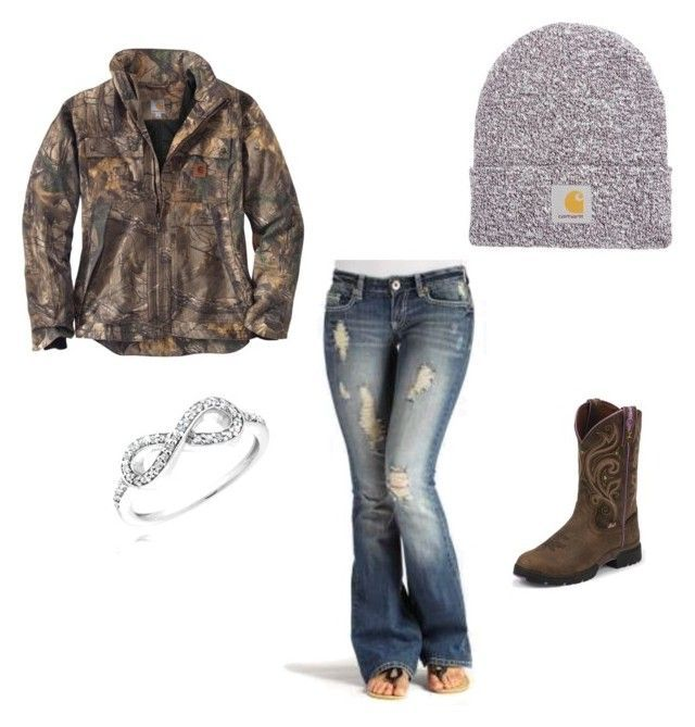 """Work today"" by johndeerebabe on Polyvore featuring Carhartt, Justin Boots and Reeds Jewelers"