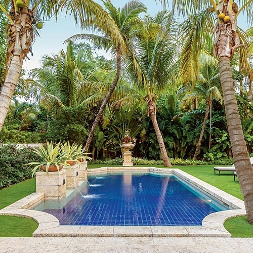 193 best pools and pool features images on pinterest for Tropical pool gardens