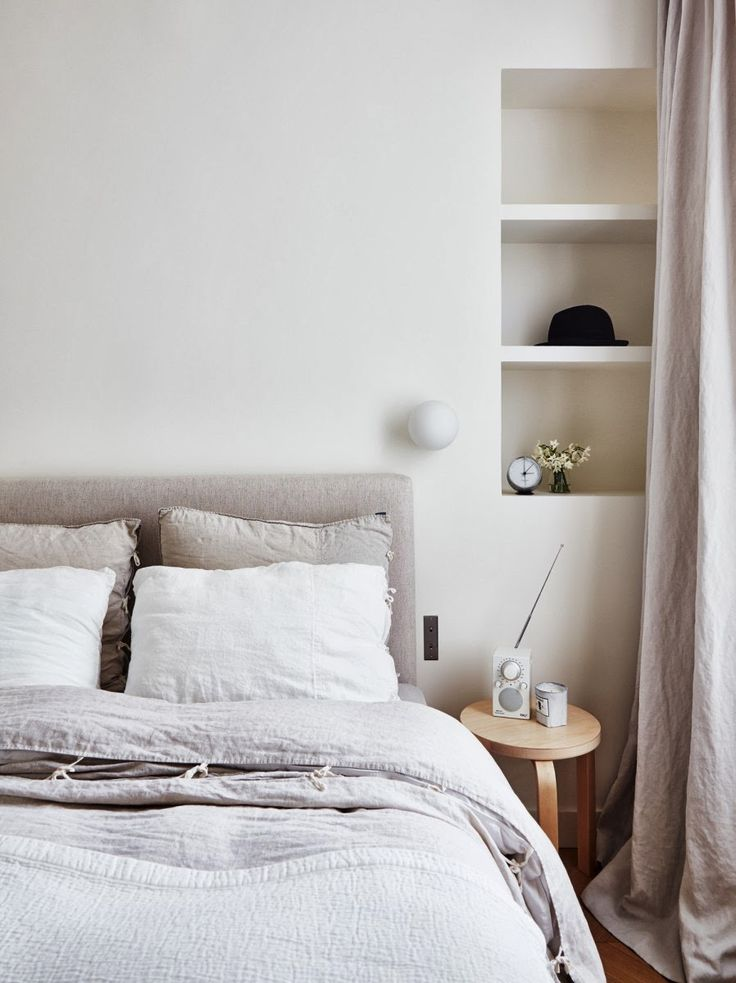 A perfect Parisien home. The softness of barely there color and the warn washed feel of linen all over.