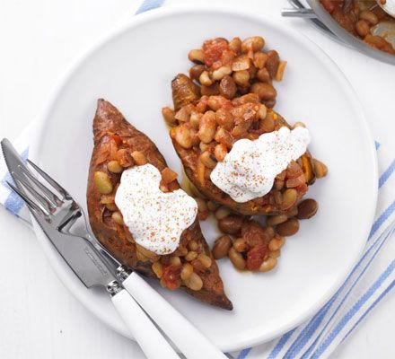 Perfect baked sweet potatoes.   Heat oven to 200C/180C fan/gas 6. Pierce the sweet potatoes a few times with a fork, then cook them in the microwave on High for 8 mins or until soft. Rub with 1 tsp of the paprika, 1 tsp of the oil and some seasoning. Transfer to a baking tray, put in the oven and cook for 10-15 mins until crispy.