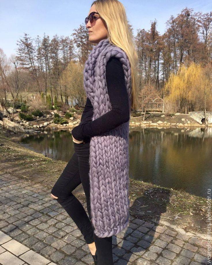 Купить Вязаный длинный жилет из шерсти меринос - серый, однотонный, кардиган вязаный, кардиган женский