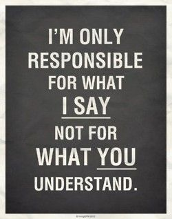 i'm only responsible for what i say not for what you understand