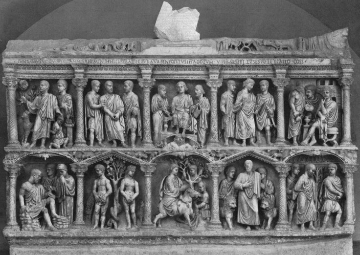 Sarcophagus of Junius Bassus, AD 359. The style of art here is traditional Roman classicism, but this sarcophagus is Christian in nature, and therefore the scenes depicted are biblical. This predates Christian art and style, so it is instead borrowing from the existing artistic vocabulary