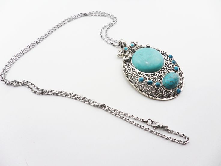 """Antique Silver Turquoise Pendant X large (73mmx57mm) on a 30"""" Lo"""