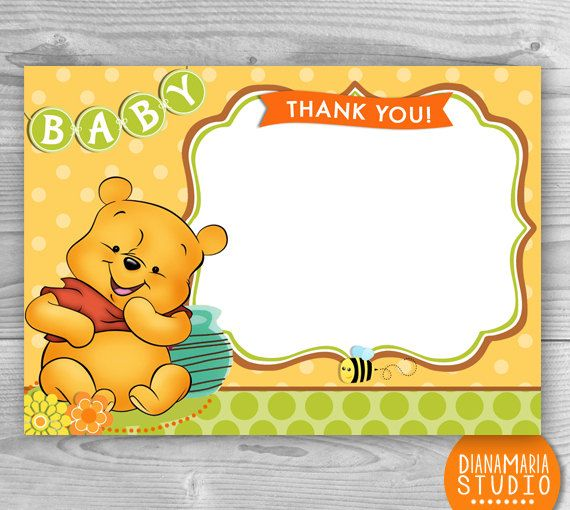 Winnie The Pooh Templates For Baby Shower: Baby Winnie The Pooh Thank You Cards