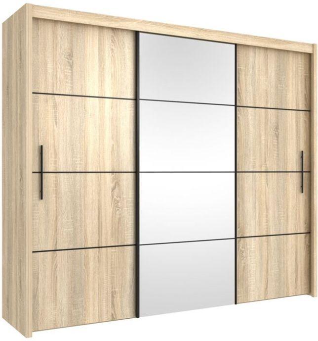 Inova Oak 3 Door Sliding Door Wardrobe 250cm P4DS4125   - furniturefactor