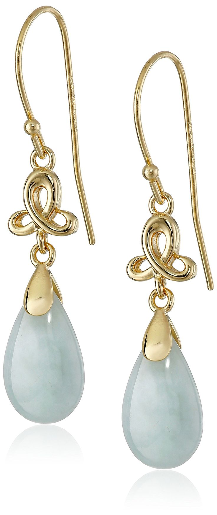 18k Yellow Gold-Plated Sterling Silver Green Jade Pear-Shape Dangle Earrings: