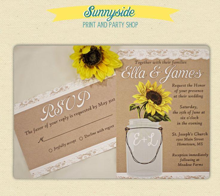 sunflower wedding invitations printable%0A Mason Jar Sunflower Wedding Invitation Set by sunnysideprintparty