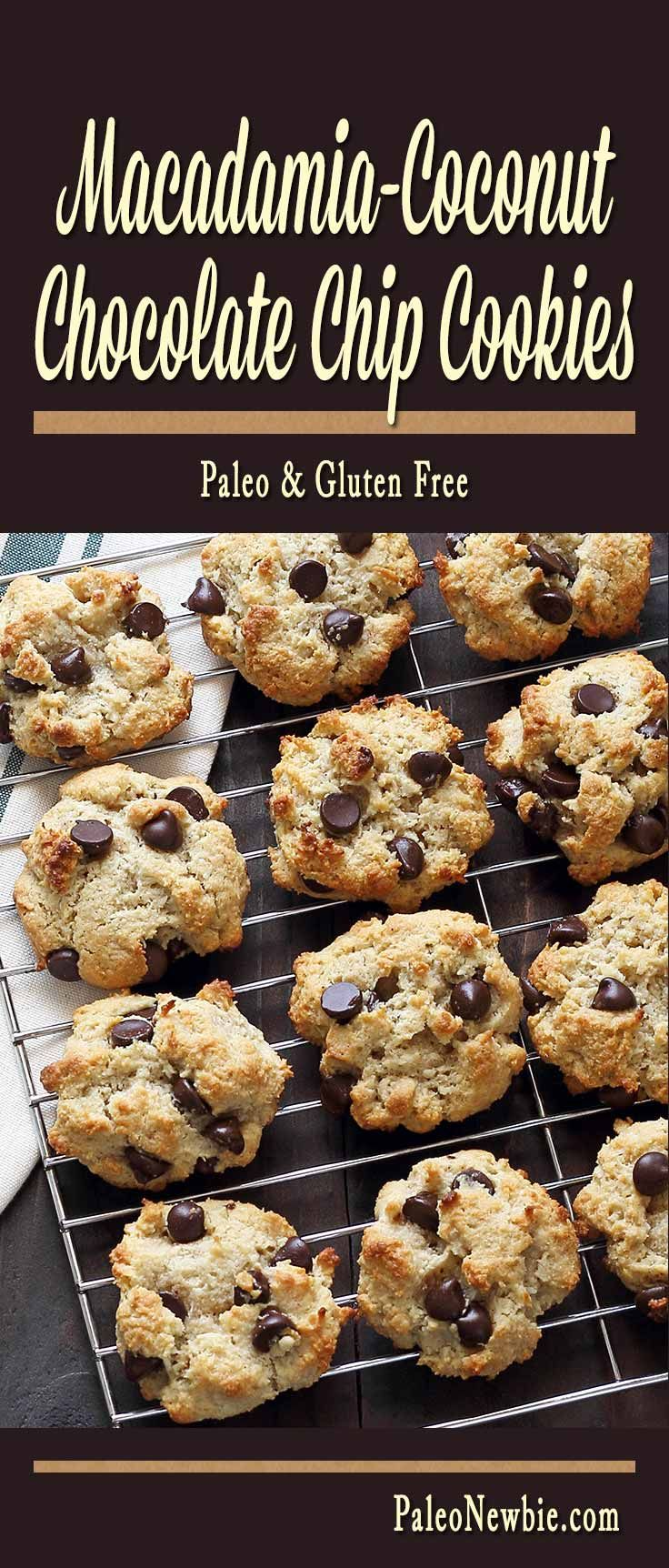 Rich macadamia nut butter taste with shredded coconut and dark chocolate chips. Not oily, crumbly or over-sweet – close to the perfect paleo cookie in my book! Try these!