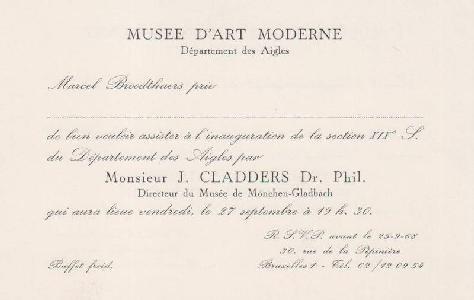 Marcel Broodthaers  Carton d'invitation pour l'inauguration de la section XIXe s. du Département des Aigles par M. J. Cladders, 30 rue de la Pépinière, le 27 septembre 1968]. Carte biface et bilingue imprimée en noir de 11,5 x 17,5 cm (non écrite).  http://fr.antiques-in-europe.com/index.py/object_details_archives/cid/1694730