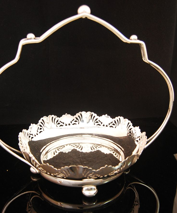 silver plated cake basket / plate by Joseph Rodgers & Sons by LoveEnglishAntique on Etsy