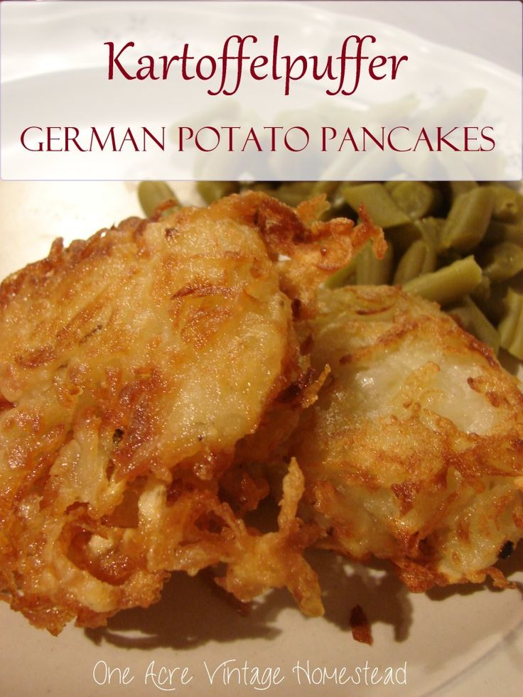Lightly fried shredded potato pancakes are the best German appetizer or side dish you can have to compliment apple sauce or even apple butter.