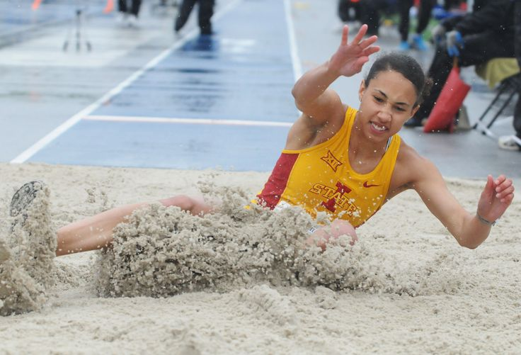 Iowa State's Allanah McCorkle lands in the sand pit during the university women's long jump at the Drake Relays on Friday at Drake Stadium in Des Moines. Photo by Nirmalendu Majumdar/Ames Tribune http://www.amestrib.com/sports/drake-relays-isu-s-luque-takes-second-long-jump