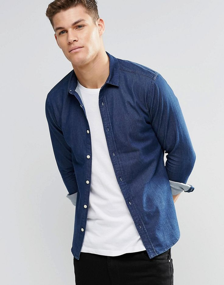 Image 1 ofASOS Skinny Denim Shirt In Rinse Wash With Long Sleeves