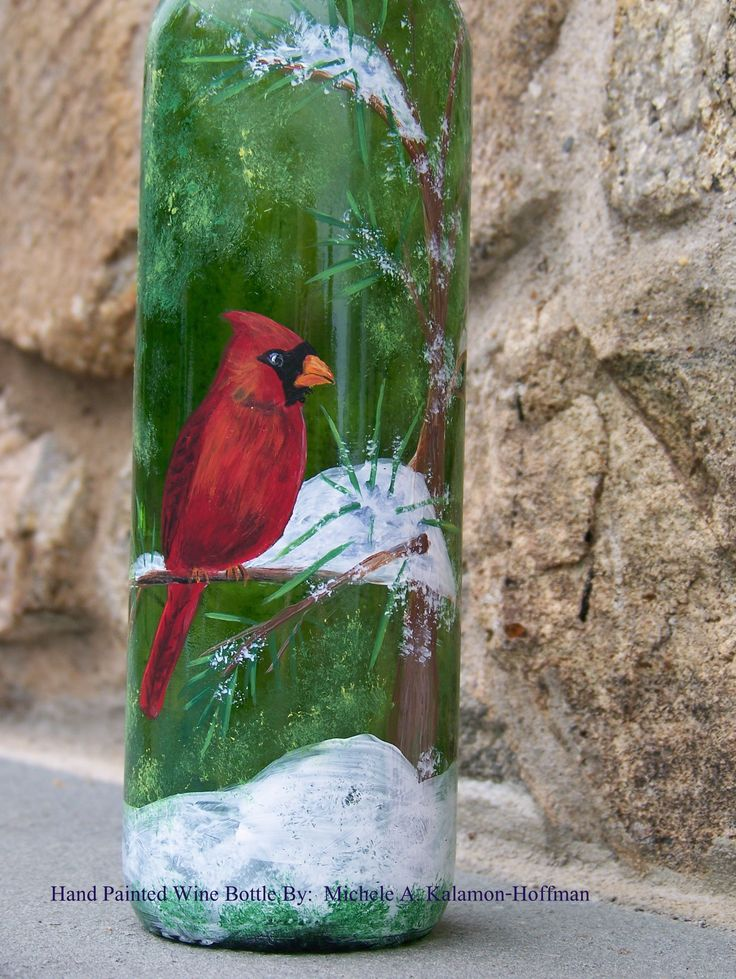 Hand Painted Wine Bottle - Cardinal 2013