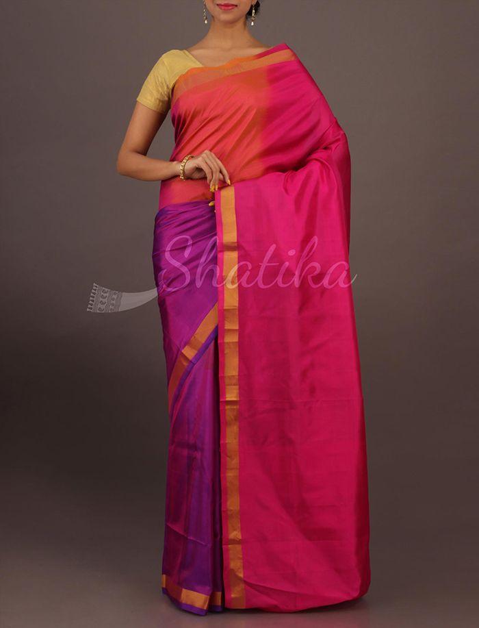 Keerti Tri Color Blotch Lace Border Contemporary #SoftSilkSaree