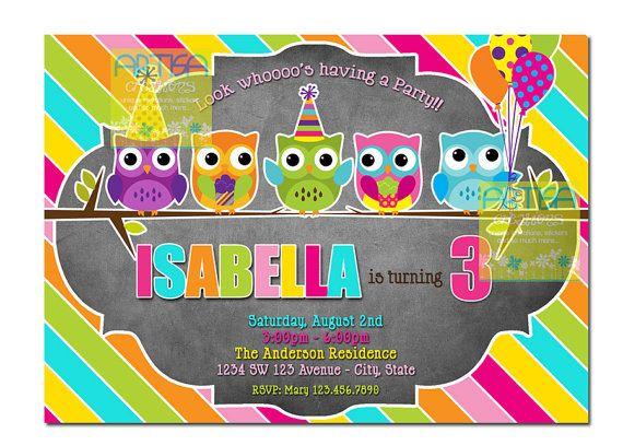 Owl Birthday Invitation Colorful Owl Birthday by artisacreations